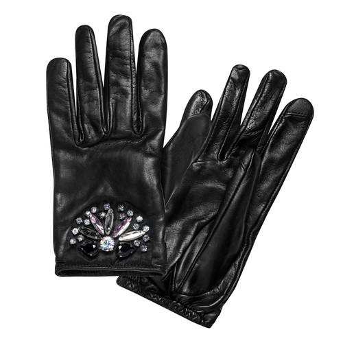 Black Multi Rhinestone Cluster Leather Glove