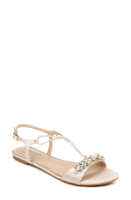 Champagne Paulina Crystal Adorned Flat Sandals Front