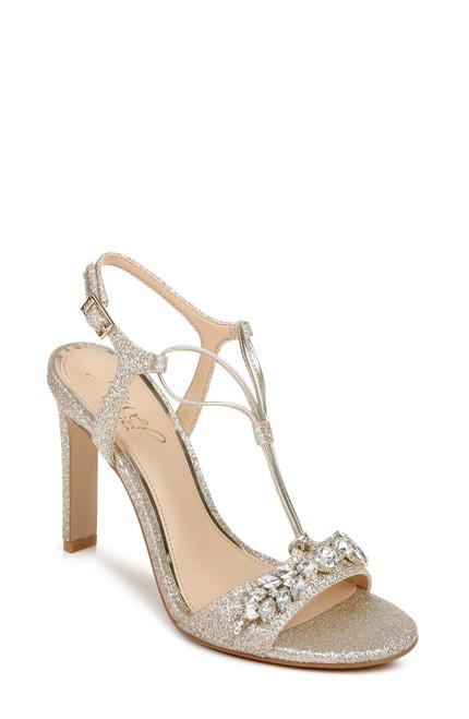 Light Gold Peaches Crystal Adorned Glitter Stilettos Front