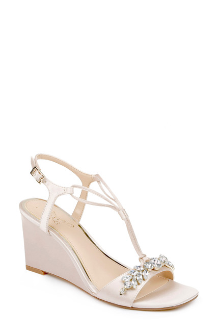 Champagne Oakes Crystal Adorned Wedge Sandals - Front Angle