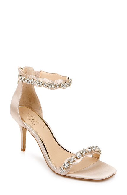 Champagne Odele Crystal Adorned Stilettos - Front Angle