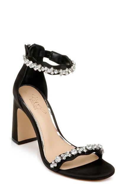 Black Odessa Crystal Adorned Block Heel Front