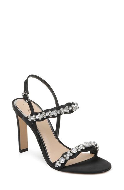 Black Odette Crystal Adorned Sling Back Stilettos
