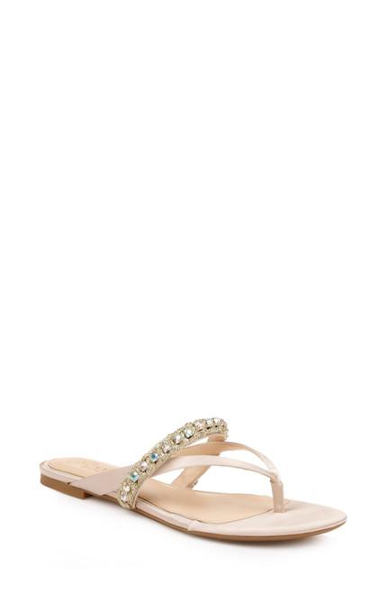 Champagne Odina Artisanal Flat Sandals Front