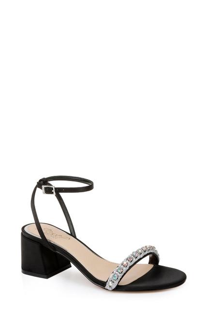Black Odonna Crystal Detail Block Heel Front