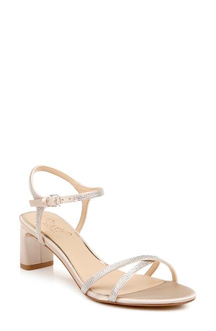 Champagne/ Clear Omari II Buckle-Detail Block Heels Front