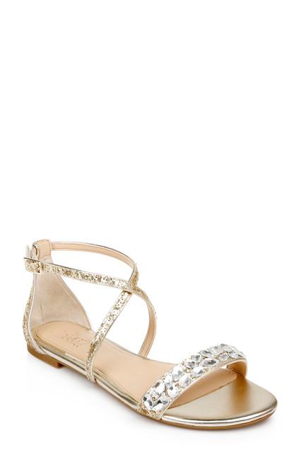 Light Gold Osome Glitter Flat Sandals Front