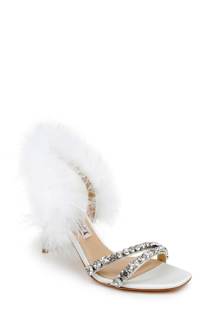Soft White Harley Feather Strap Heel - Front angle