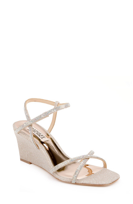 Pale Gold Reagan Open-Toe Wedge Heel - Front angle