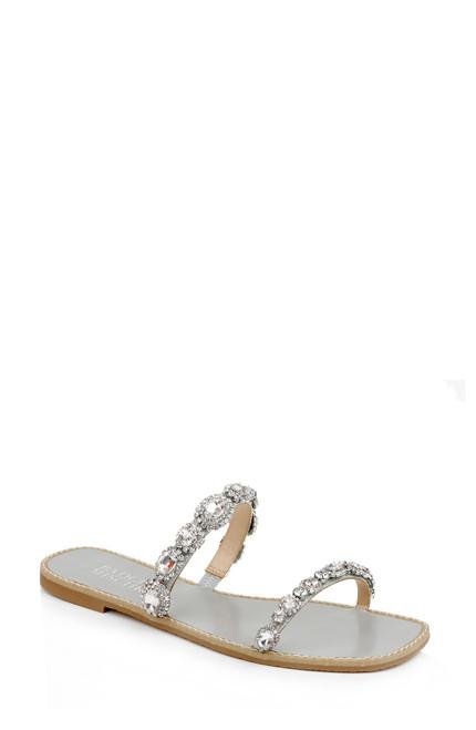 Silver Reed Embellished Flat Sandal - Front angle