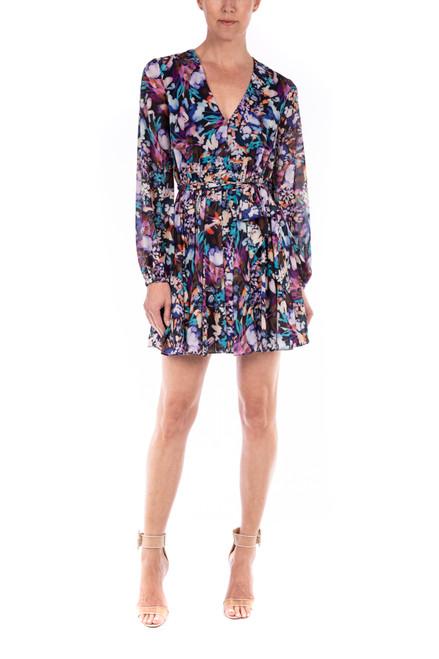 Purple Multi Alison V-Neck Printed Garden Floral Dress - Front Alt