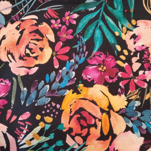 Printed Cotton: Flower Party Digital -Navy