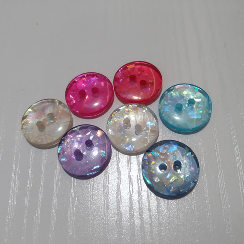 Abbey Button Clear Glitter 2 hole (assorted colours)24L