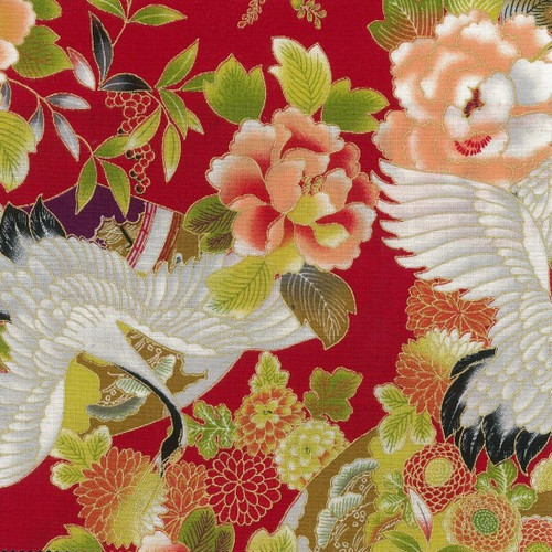 Metallic Japanese Fabric: Tokiwa Red