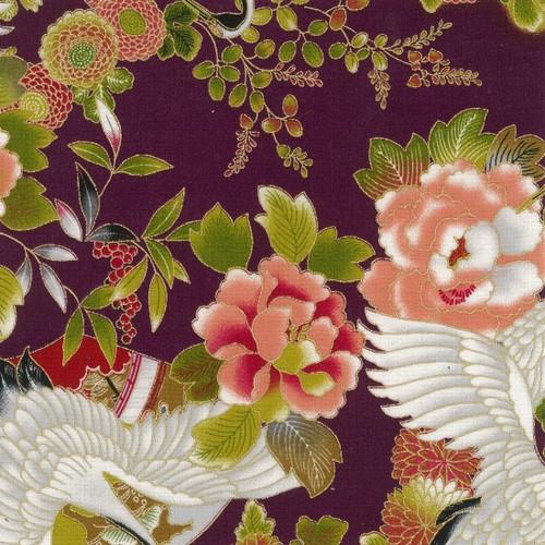 Metallic Japanese Fabric: Tokiwa Purple