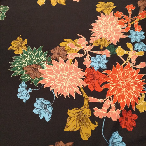 Dress Fabric: Printed Rayon - Large Bouquet
