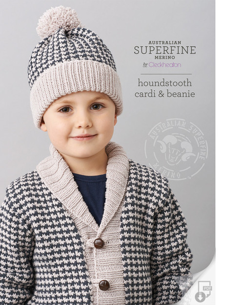 Cleckheaton: Houndstooth Cardi and Beanie 456