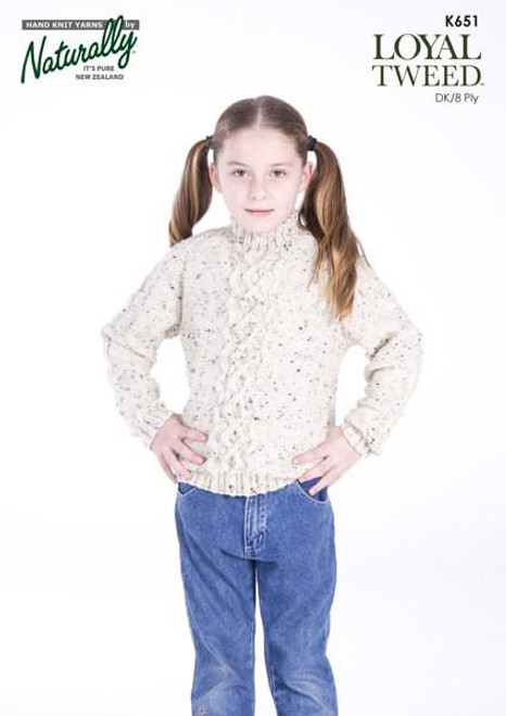 Naturally: Raglan Sweater with Centre Cable K651