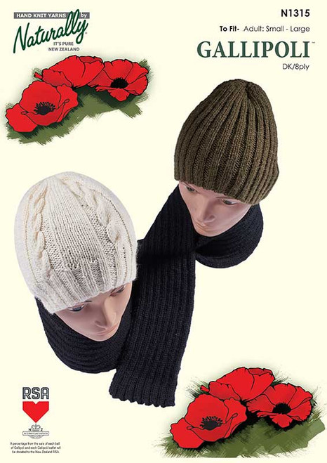 Naturally: Gallipoli Rib or Cable Hat and scarf