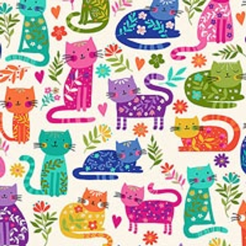 Printed Cotton: Katie's Cats - Allover