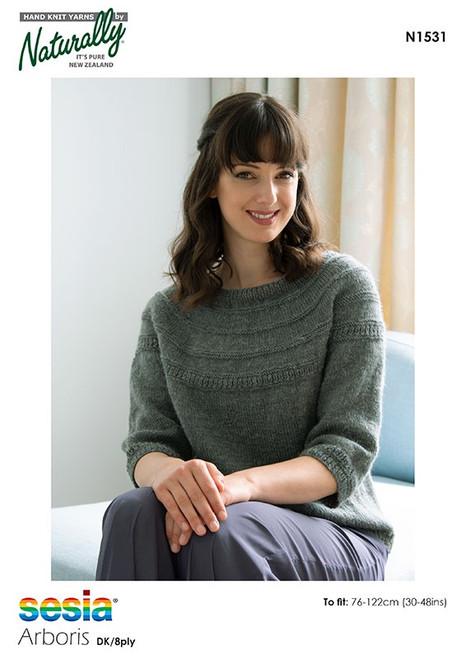 Sesia: Yoke Sweater with 3/4 Length Sleeves N1531