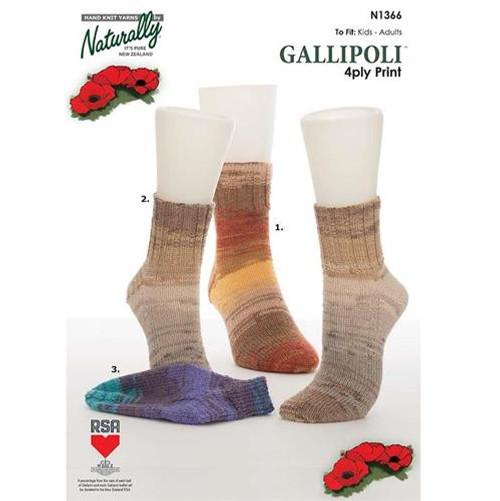 Naturally: 4Ply Print Socks & Anklet Socks N1366