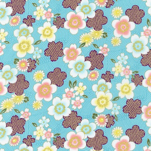 Japanese Fabric: Sakura Brook Metallic -Blue