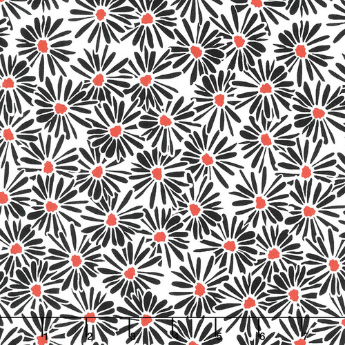 Printed Cotton: Blank Quilting Red Alert White Daisies
