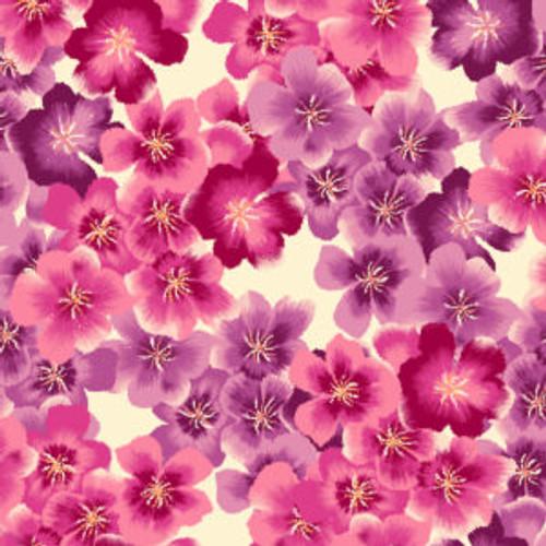 Pink/Coral: Oasis fabrics Peony Blossom - Blossoms, Ecru