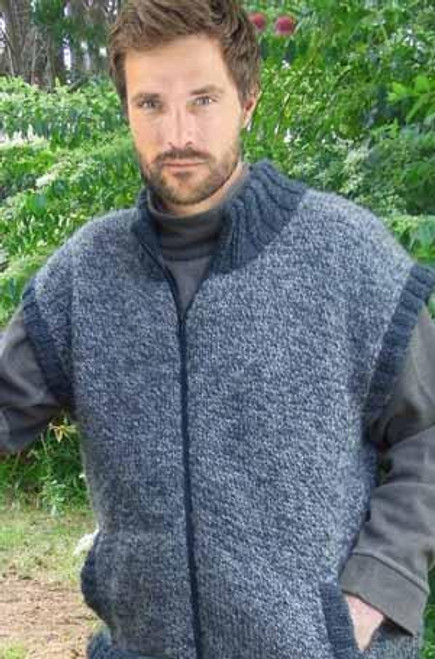 Natural Chunky 14ply Zipped Vest P190