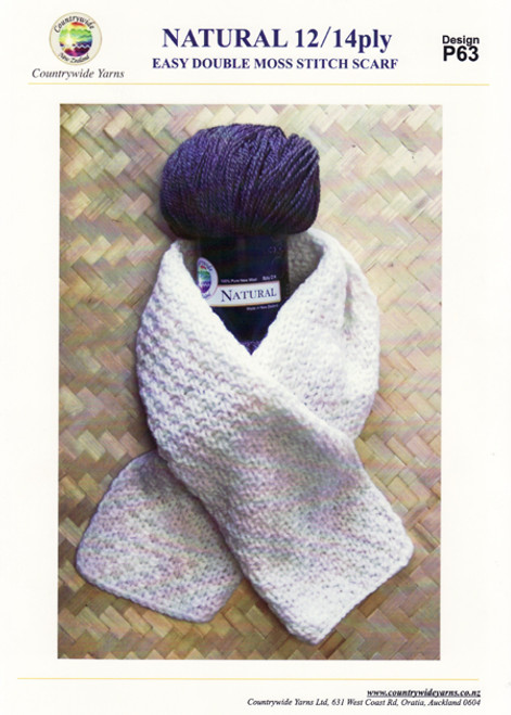 Countrywide:  Natural 12/14ply Double Moss Stitch Scarf P63