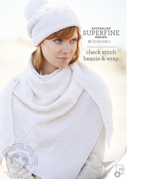 Cleckheaton: Check stitch Beanie and Wrap (452)