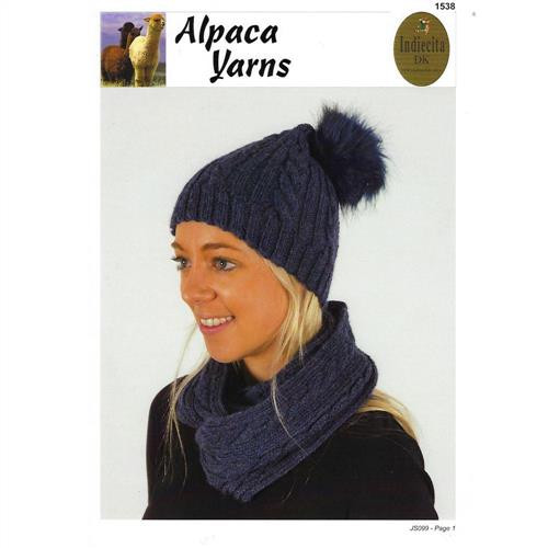 Alpaca yarns:  Cable Beanie and Cowl 1538