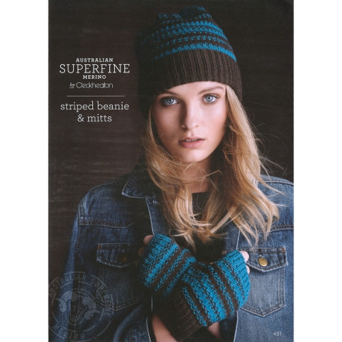 Cleckheaton: Striped Beanie and Mitts 431