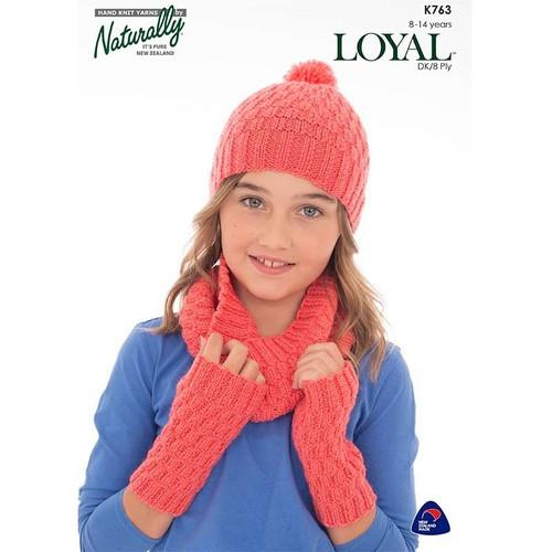 Naturally Loyal: Hat, Cowl and Wrist Warmer (K763)