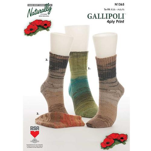 Naturally: Gallipoli Print Three Different Rib Cuff Socks (N1365)