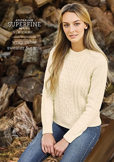 Cleckheaton: Wrap cable Sweater Cardi