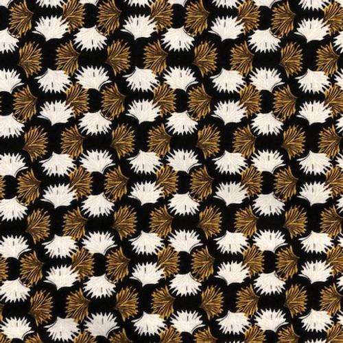 Dress Fabric: Black & Gold Flower