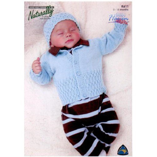 Naturally Baby Haven: Cardigan and Hat K611