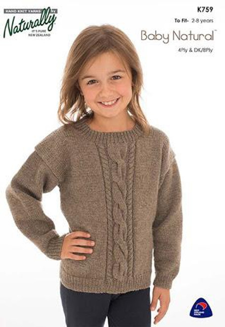 Naturally: Baby Natural Cable Panel sweater K759