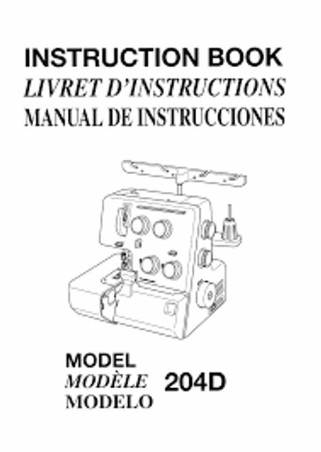 Instruction Manual: Janome Overlocker 204D
