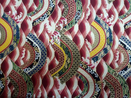Metallic Japanese Fabric: Red Waves