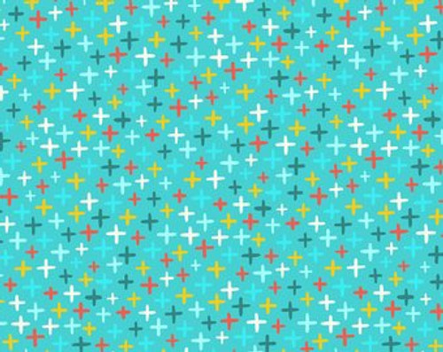 Printed cotton: Over and Under - Aqua
