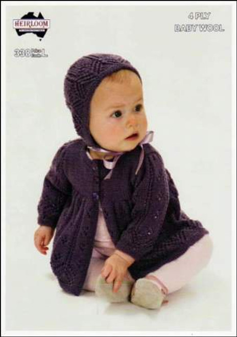 Heirloom: Baby Cardigan and Bonnet H338