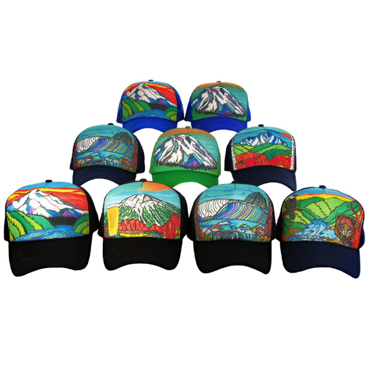 70ab9497f3b Super Custom Hand Painted Trucker Hat - Flow Factory NW