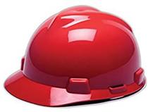MSA V-GARD HARD HAT RED TYPE 1 W/FAS-TRAC RATCHET SUSPENSION