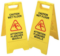 CAUTION WET FLOOR A-FRAME SIGN BILINGUAL