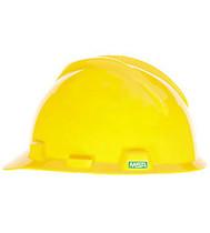 MSA V-GARD HARD HAT YELLOW TYPE 1 W/FAS-TRAC RATCHET SUSPENSION
