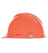MSA V-GARD HARD HAT ORANGE TYPE 1 W/FAS-TRAC RATCHET SUSPENSION