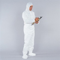 DISPOSABLE COVERALL WHITE W/BOOT & HOOD 3X